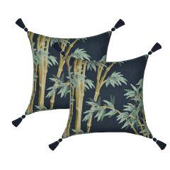 Almofada Bambu Blue Tassel
