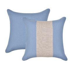 Almofada Azul Faixa Natural