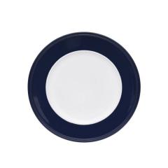 Sousplat Branco Borda Azul